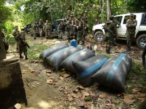 Se destruyó asimismo hoja de coca seca lista para ser utilizada en el procesamiento de droga